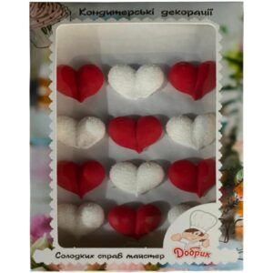 Decorațiuni din zahăr - Inimi roșii / albe
