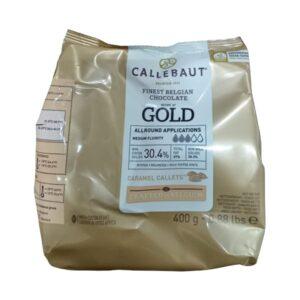 CALLEBAUT - Ciocolată Gold albă cu caramel - dropsuri, cacao 30,4%